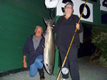 Deb Idiens with 30lb Tyee, rowed by husband, Bill