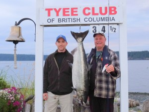Gerry Mathiasen (new member) 34.5 lbs Aug 18th 600 a.m. on a plug rowed by Mike Hamilton (rookie rower)