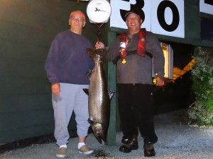 Clyde Bergendahl (new member) 30 lbs Sep 2nd 830 p.m. on a plug rowed by Ken Mar